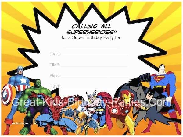 Superhero Birthday Invitations Printables