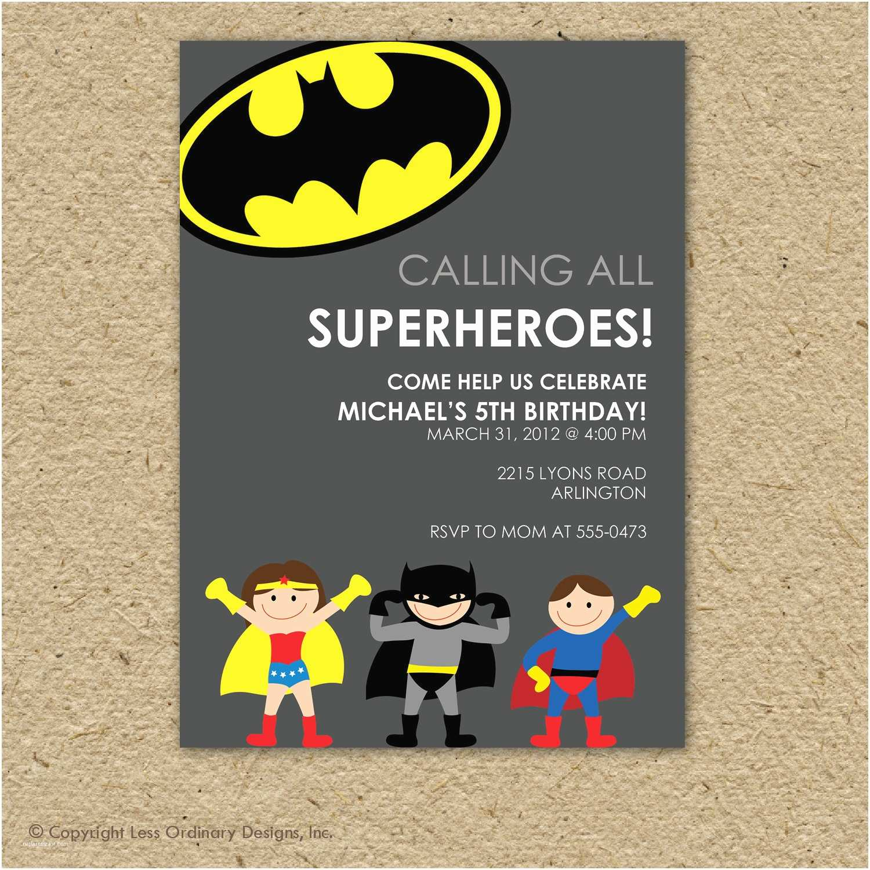 Superhero Birthday Party Invitations Batman Super Hero Birthday Party Invitation by