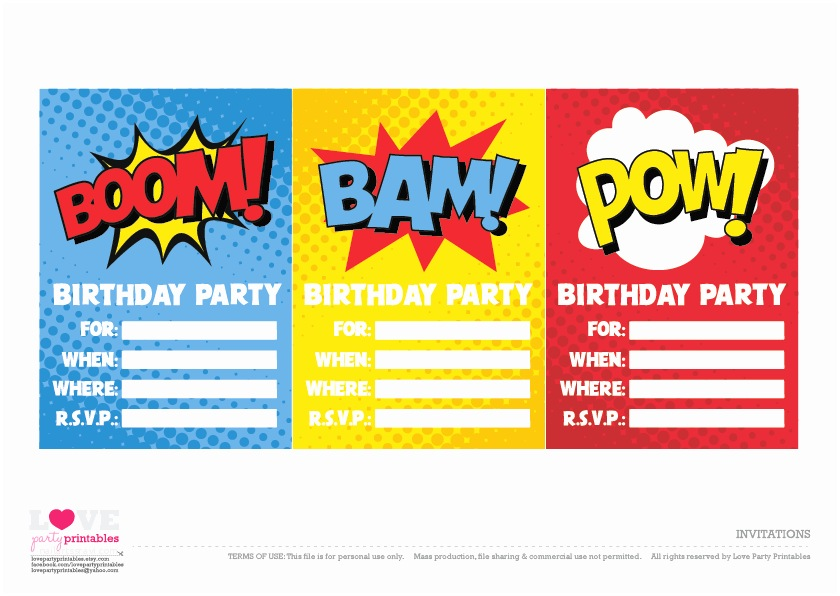 Superhero Birthday Party Invitations Free Superhero Party Printables