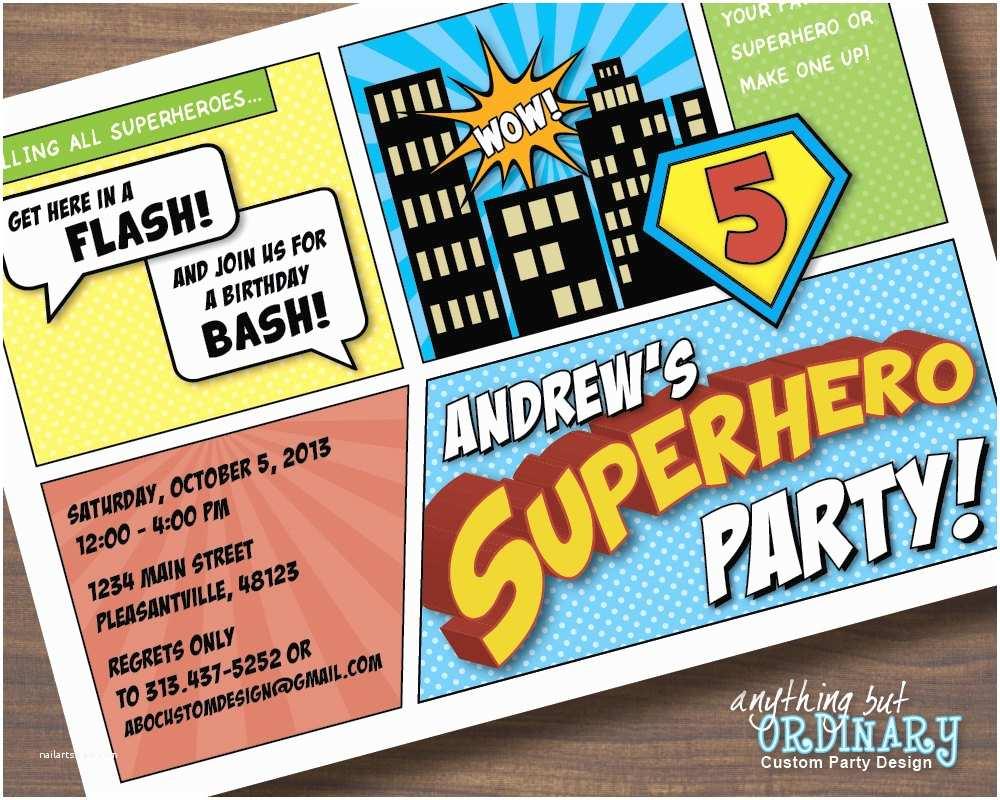 Superhero Birthday Party Invitations Superhero Birthday Invitations Printable Superhero