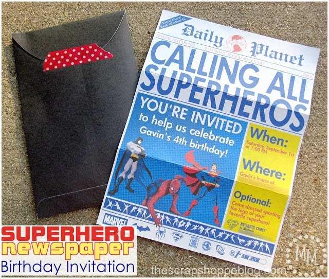 Superhero Birthday Party Invitations Superhero Newspaper Birthday Invitation the Scrap Shoppe