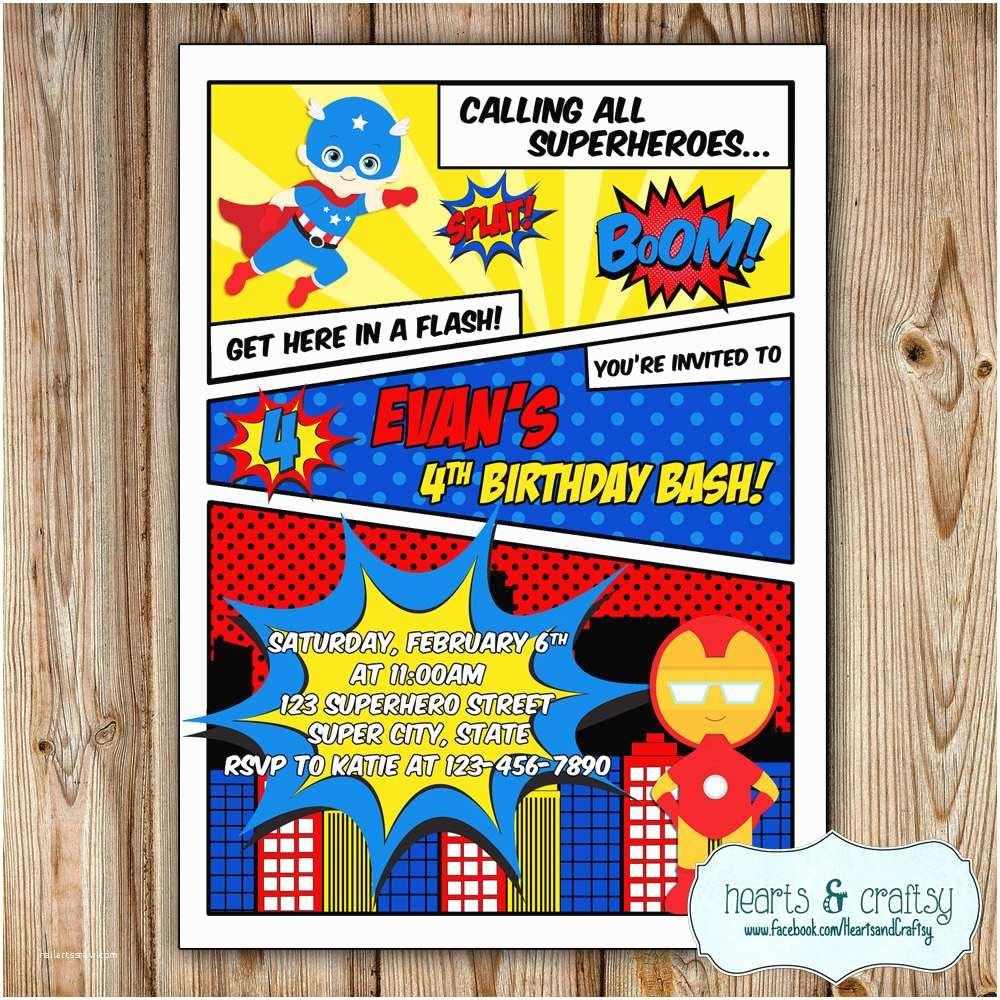 Superhero Birthday Party Invitations Superhero Party Invitation Super Hero Birthday Invitation