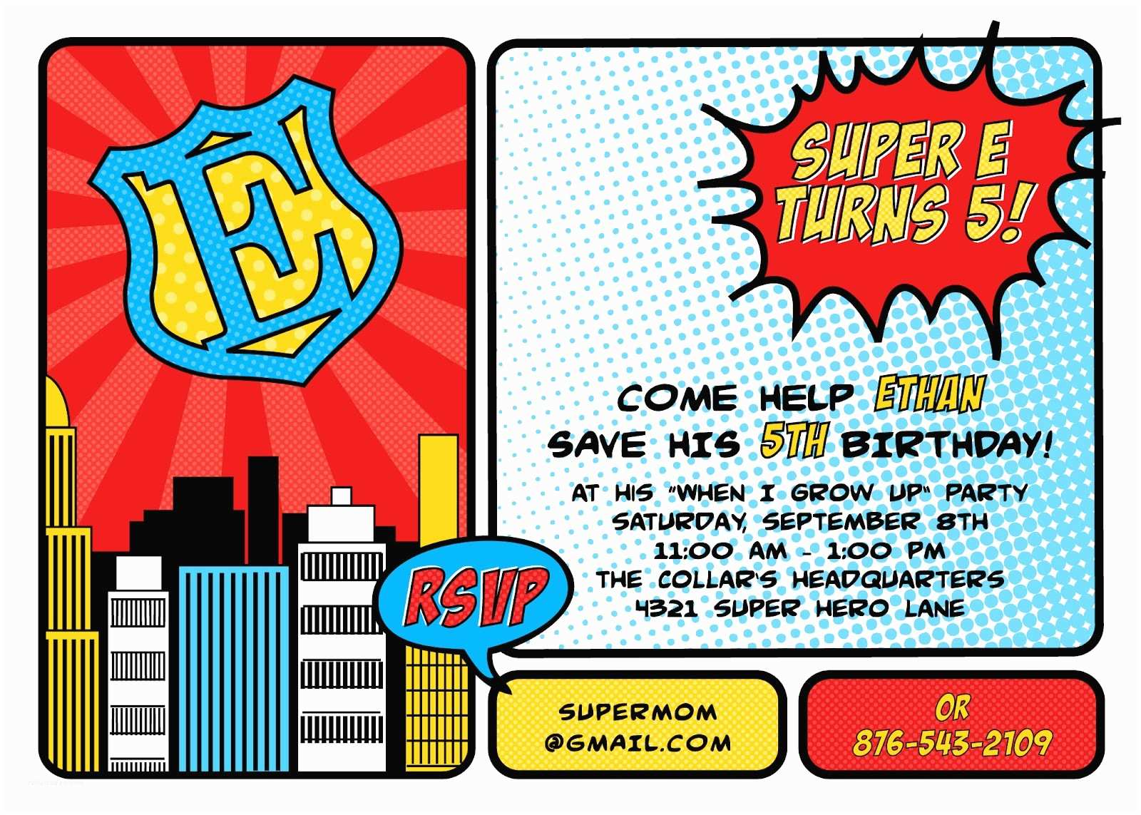 Superhero Party Invitations Buckets Of Grace Ethan S 5th Birthday Party Prep and