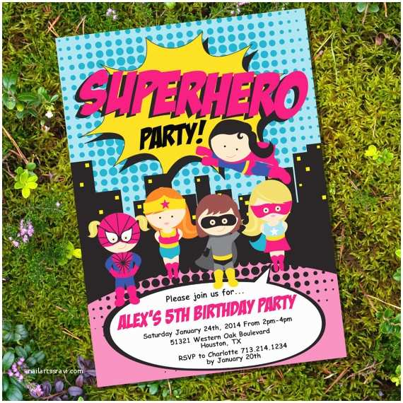 Superhero Party Invitations Girl Superhero Party Invitation Instantly Downloadable and