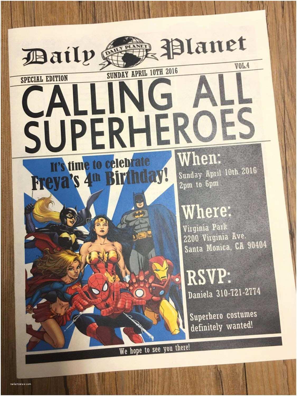 Superhero Party Invitations Newspaper Invitation Superhero Invitation Daily