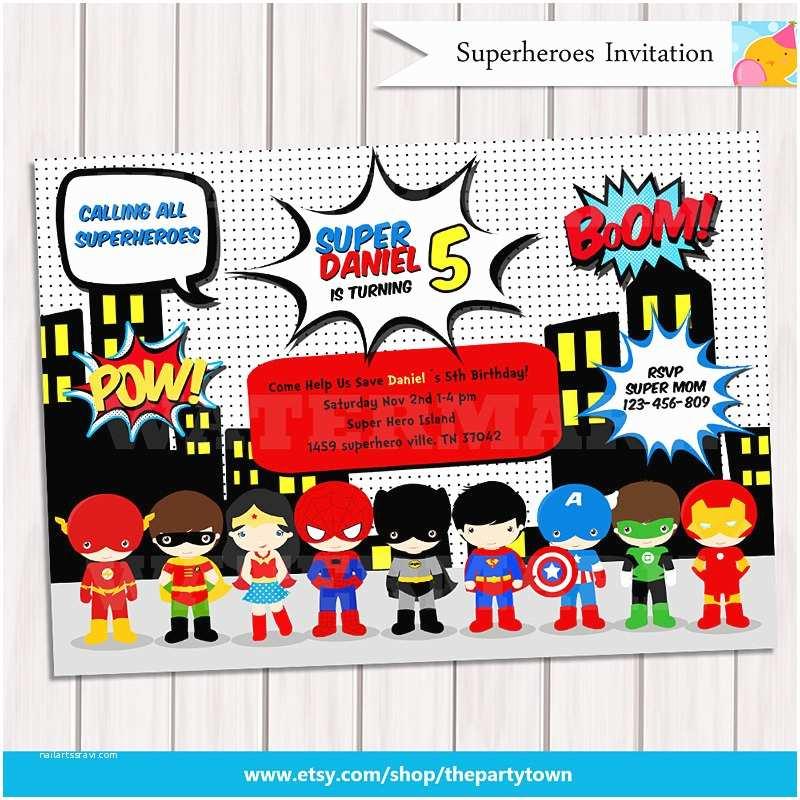 Superhero Party Invitations Super Hero Birthday Party Pop Art Superhero Invitation