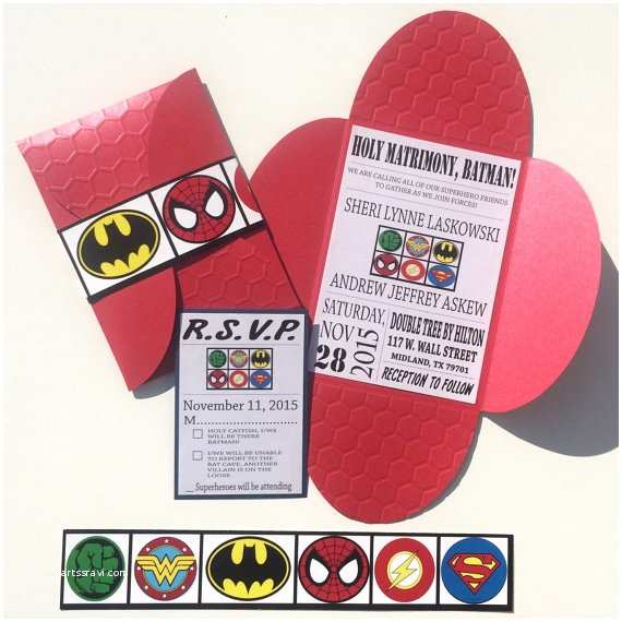 Superhero Wedding Invitations Diy Superhero Wedding Invitation
