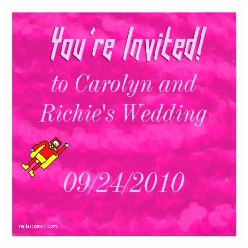 Superhero Wedding Invitations Superhero Wedding Invitation Pink
