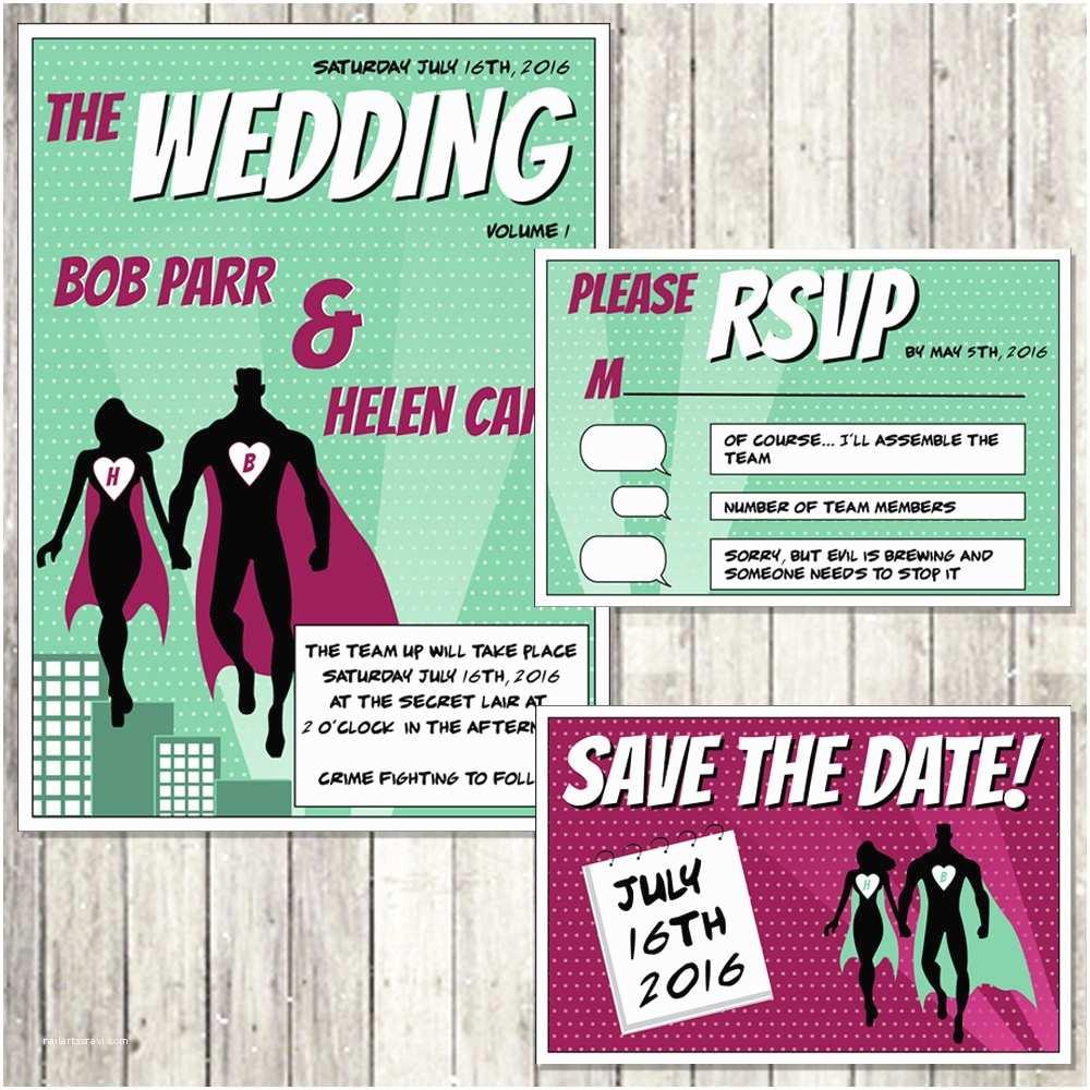 Superhero Wedding Invitations Superhero Wedding Invitation Set Digital