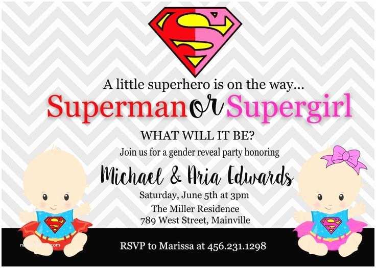 Superman Baby Shower Invitations Superman Supergirl Superhero Baby Shower Gender Reveal
