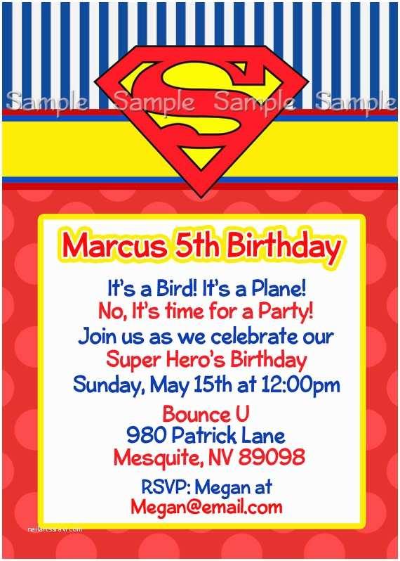 Superman Wedding Invitations Superman Personalized Printable Invitation Super Hero Boy