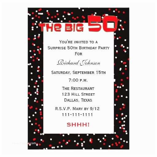 Surprise 50th Birthday Invitations 50th Surprise Birthday Party Invitation Confetti 13 Cm X