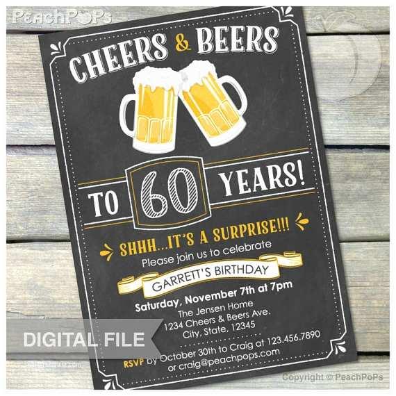 Surprise 50th Birthday Invitations 60th Surprise Birthday Chalkboard Invitation Cheers & Beers