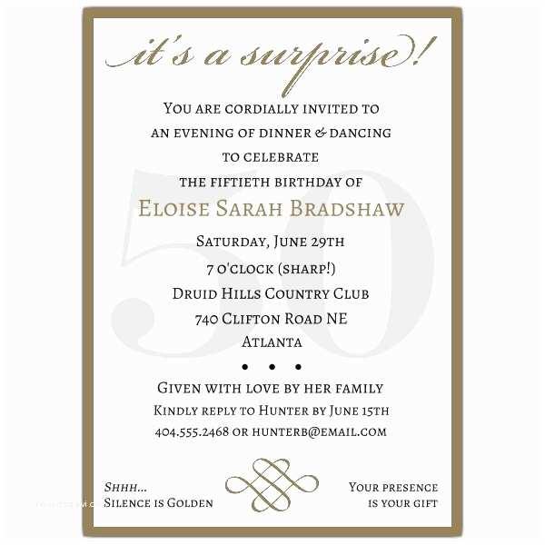 Surprise 50th Birthday Invitations Classic 50th Birthday Gold Surprise Party Invitations