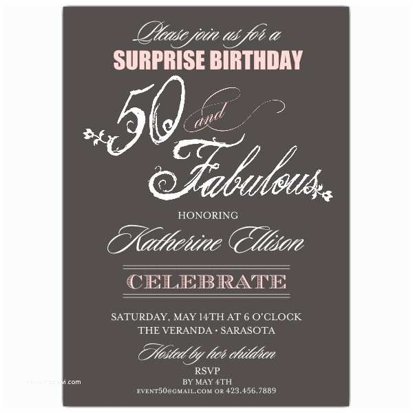 Our Best Gallery Of 34 Surprise 50th Birthday Invitations