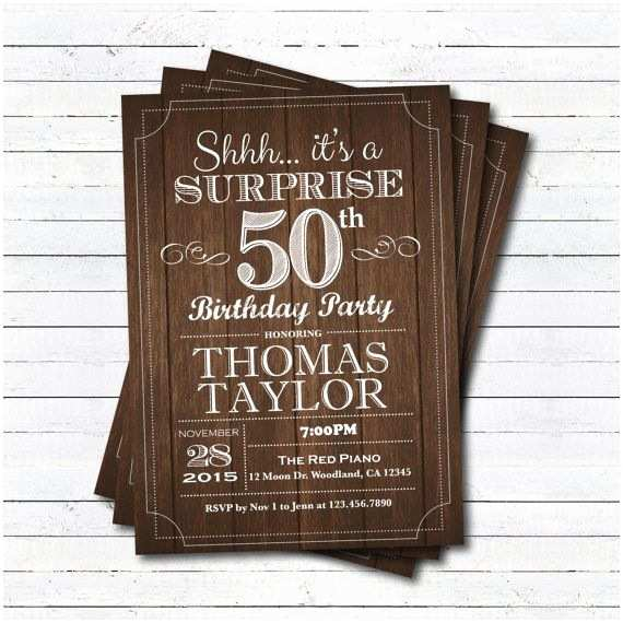Surprise 50th Birthday Invitations Surprise 50th Birthday Invitation Adult Man Any Age by