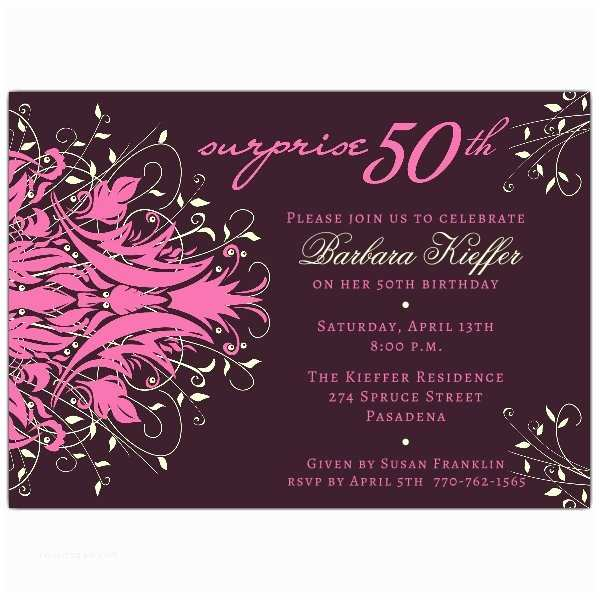 Surprise 50th Birthday Party Invitations andromeda Pink 50th Surprise Birthday Invitations
