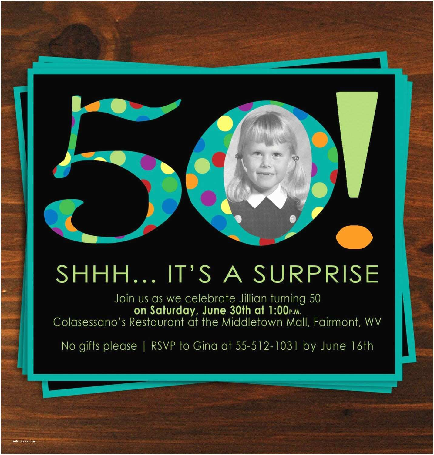 Surprise 50th Birthday Party Invitations Black and Blue Poka Dot Surprise 50th Birthday Party