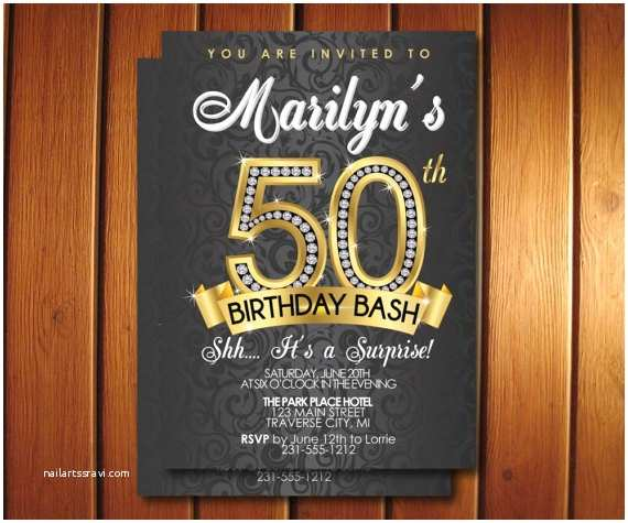 Surprise 50th Birthday Party Invitations Diamond 50th Birthday Invitation Adult Birthday Party