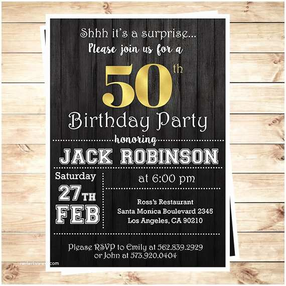 Surprise 50th Birthday Party Invitations Mens Surprise 50th Birthday Party Invitations 50th Birthday