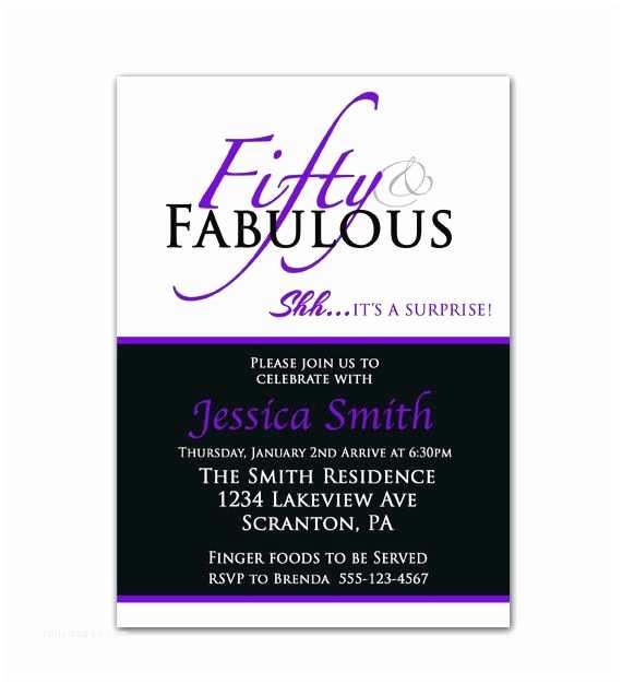 Surprise 50th Birthday Party Invitations Surprise 50th Birthday Invitation Fifty and Fabulous