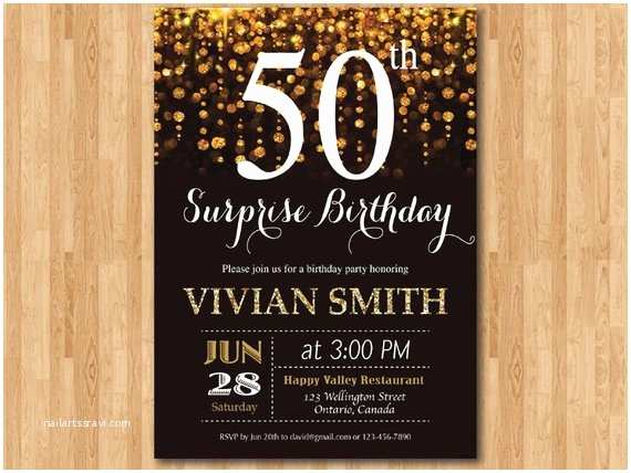 Surprise 50th Birthday Party Invitations Surprise 50th Birthday Invitation for Women Fifty and