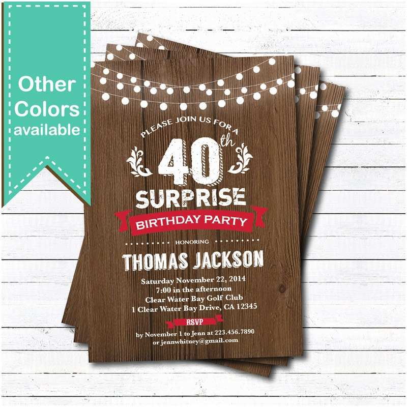 Surprise 50th Birthday Party Invitations Surprise 50th Birthday Invitation Woman Man Rustic by
