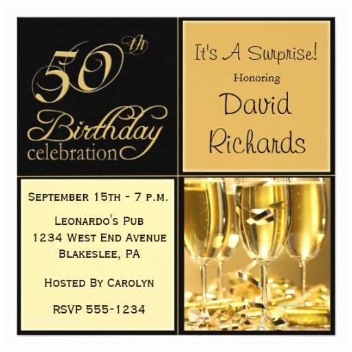 """Surprise 50th Birthday Party Invitations Surprise 50th Birthday Party Invitations 5 25"""" Square"""