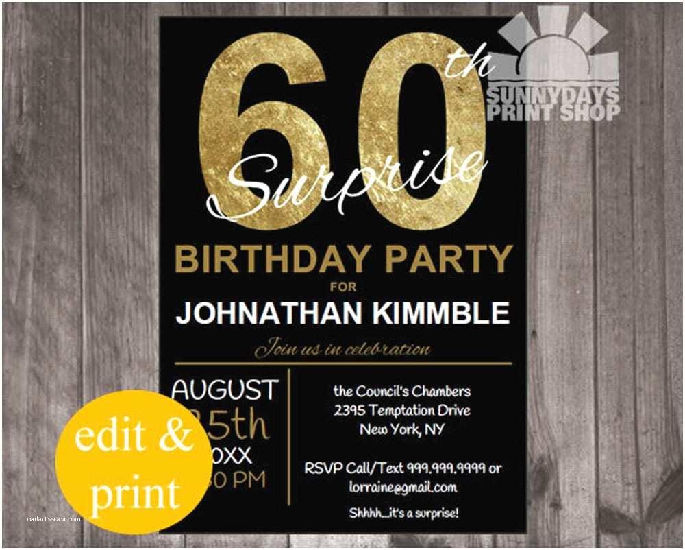 Surprise 60th Birthday Invitations 20 Ideas 60th Birthday Party Invitations Card Templates