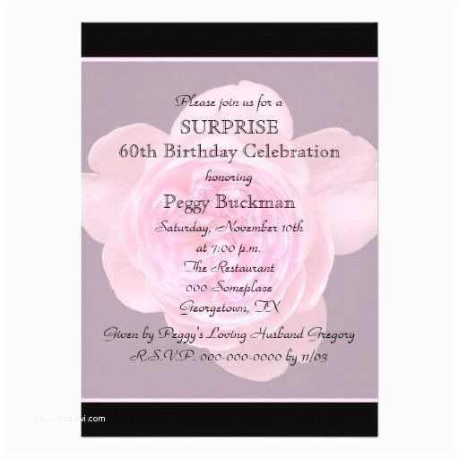 Surprise 60th Birthday Invitations 60th Surprise Birthday Party Invitation Rose
