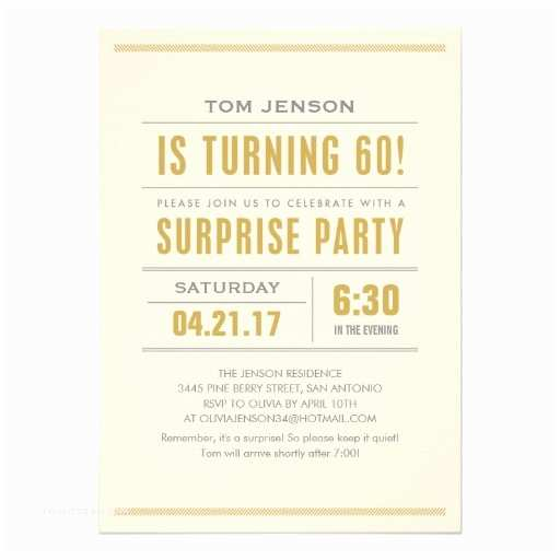 Surprise 60th Birthday Invitations Big Type Party