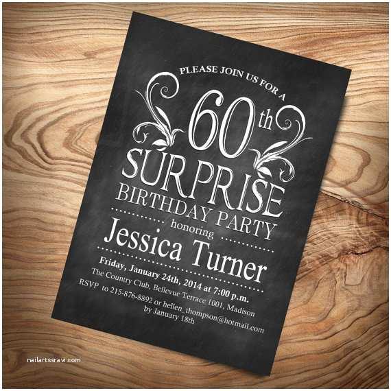 Surprise 60th Birthday Invitations Items Similar To 60th Surprise Birthday Invitation