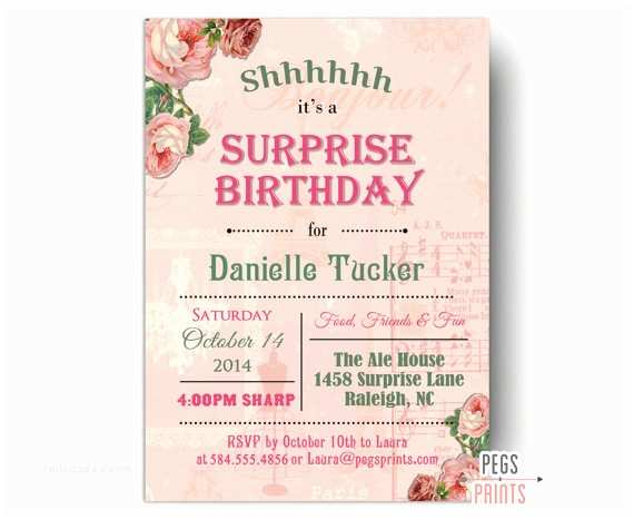 60th Birthday Invitations Shabby Chic  Party Invitation Printable