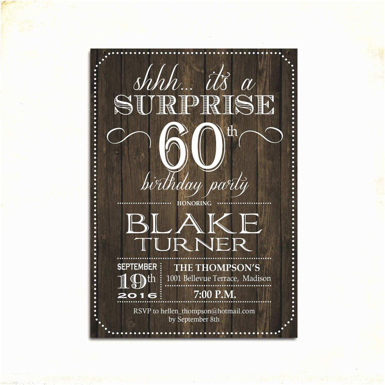 Surprise 60th Birthday Invitations Surprise 60th Birthday Invitation Any Age