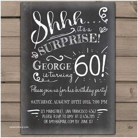 Surprise 60th Birthday Invitations Surprise 60th Birthday Invitation Chalkboard Invitation