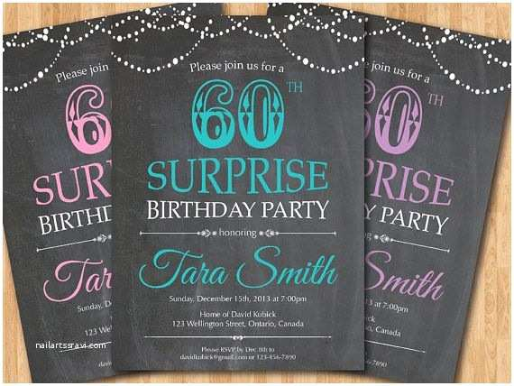 60th Birthday Invitations  60th Birthday Invitation Chalkboard