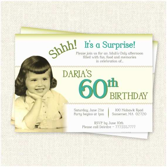 Surprise 60th Birthday Invitations Surprise 60th Birthday Invitation Digital Printable File