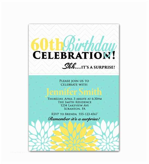 Surprise 60th Birthday Invitations Surprise 60th Birthday Party Invitation Teal By