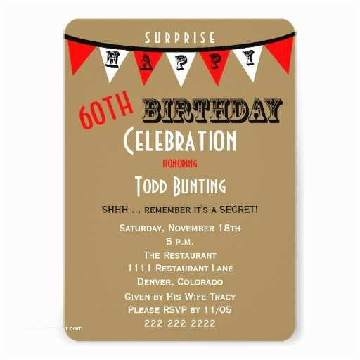 "Surprise 60th Birthday Invitations Surprise 60th Birthday Party Invitations Bunting 5"" X 7"