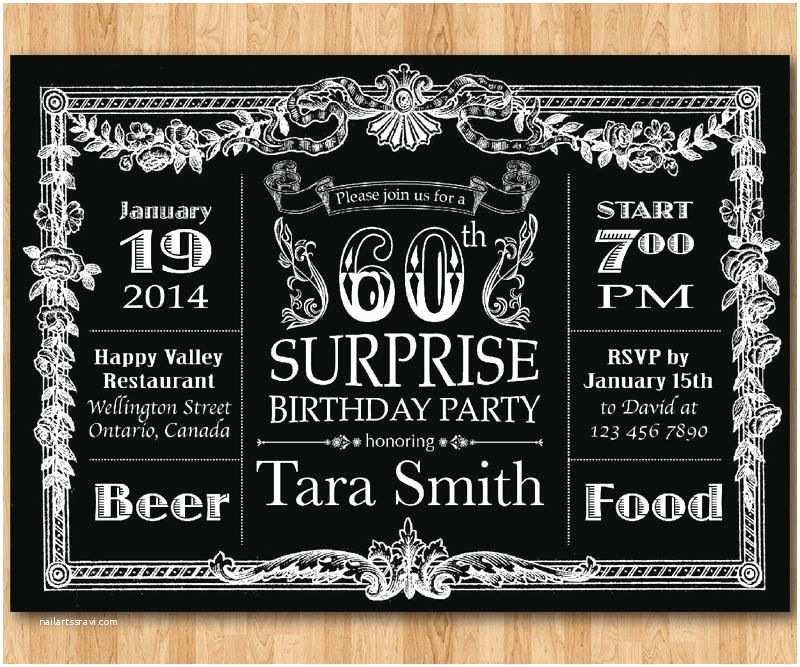 Surprise 60th Birthday Invitations Vintage 60th Birthday Invitations For
