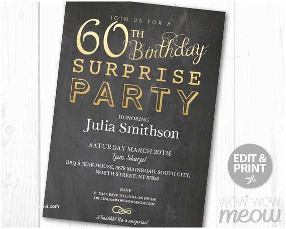 Surprise 60th Birthday Party Invitations Elegant Gold Surprise 60th Birthday Invitations Party