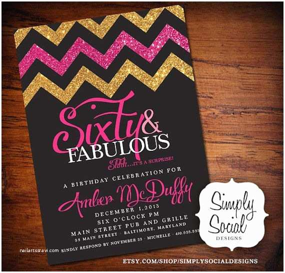 Surprise 60th Birthday Party Invitations Glitter Glam Surprise 60th Birthday Party Invitation with