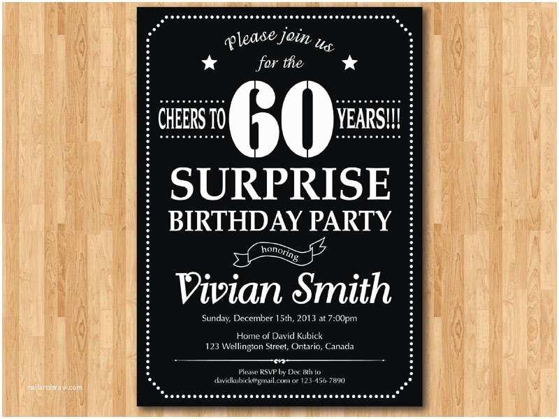 Surprise 60th Birthday  Invitations Surprise 60th Birthday Invitation Chalkboard Birthday