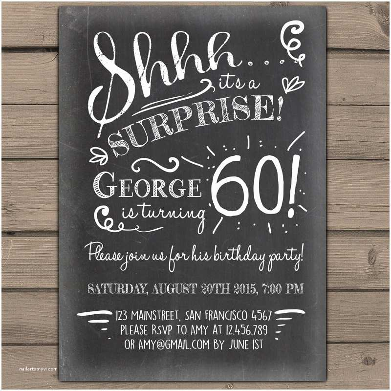 Surprise 60th Birthday Party Invitations Surprise 60th Birthday Invitation Chalkboard Invitation