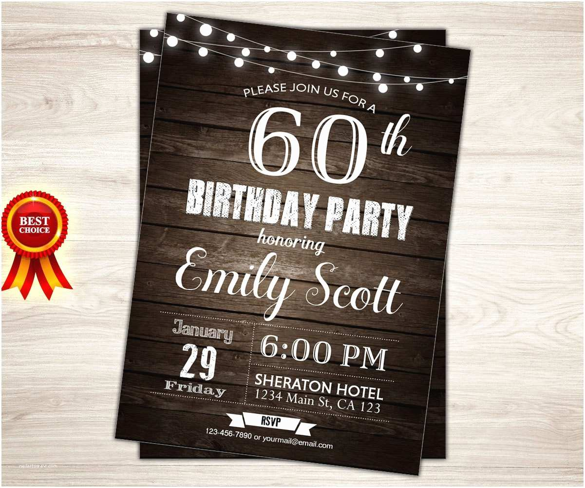 Surprise 60th Birthday Party Invitations Surprise 60th Birthday Invitation Man Surprise Birthday Party