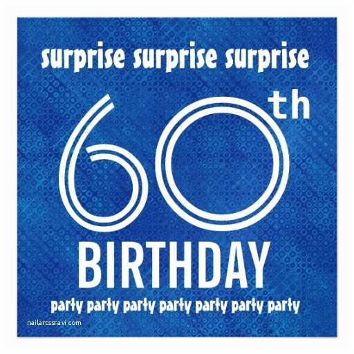 """Surprise 60th Birthday Party Invitations Surprise 60th Birthday Party Blue White W1892 5 25"""" Square"""