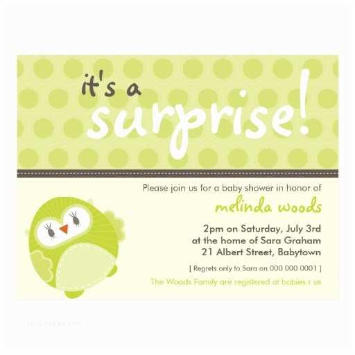 Surprise Baby Shower Invitation Baby Shower Invitation Surprise Owl 2 Postcard