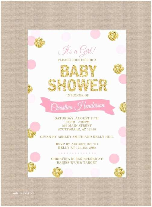 Surprise Baby Shower Invitation Pink and Gold Baby Shower Invitations Show and Surprise