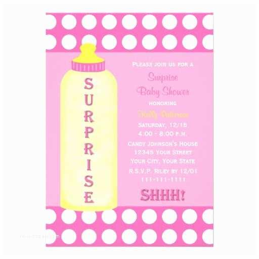 "Surprise Baby Shower Invitation Surprise Baby Shower Invitation Pink Baby Bottle 5"" X"