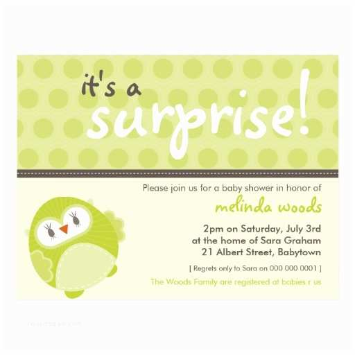 Surprise Baby Shower Invitations Baby Shower Invitation Surprise Owl 2 Postcard